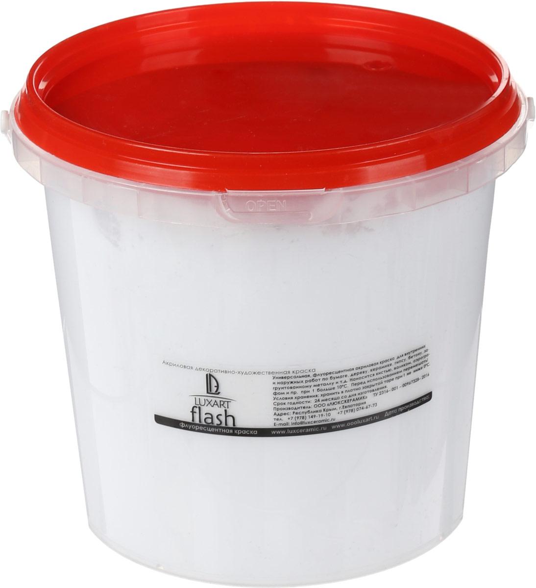Luxart Краска акриловая LuxFlash цвет белый флуоресцентный 1000 мл -  Краски