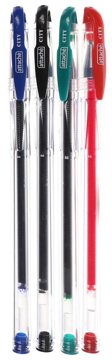 Набор гелевых ручек Attache City вмягкой упаковке, четыре цвета— синий, красный, зеленый, черный. Ручки отличаются экологичностью— выполнены изпереработанного пластика. Укаждой удобная зона захвата для снижения напряжения руки. Стержни сменные. Ручки обеспечивают легкое имягкое письмо, яркие инасыщенные линии толщиной 0,5мм. Чернила быстро высыхают, неразмазываются.