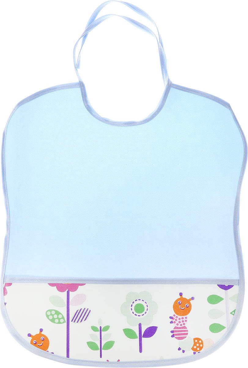 Колорит Нагрудник с карманом Гусеницы цвет голубой 33 см х 33 см