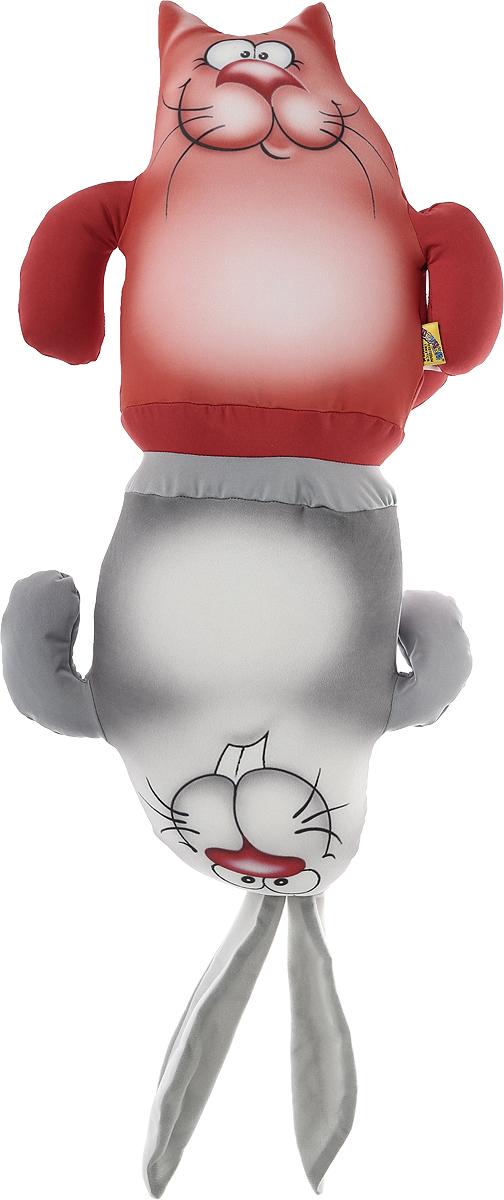 Штучки, к которым тянутся ручки Подушка-игрушка антистрессовая Кот-заяц цвет коралловый серый
