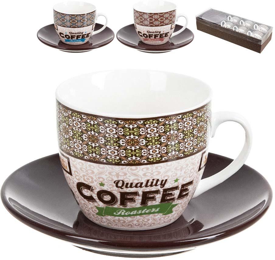 """Кофейный набор """"Coffe"""" состоит из 6 чайных пар. Универсальный орнамент этого кофейного набора удачно дополнит любой дизайн."""