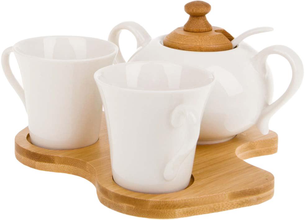 Набор из 2-х чашек, сахарницы с ложкой.Бамбуковая подставка удобна в использовании.