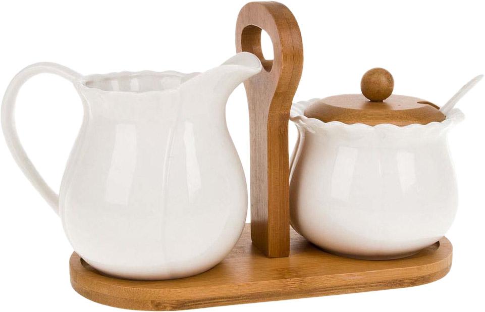 """Сахарница с ложкой и молочник серии """"Nature"""".Аккуратная бамбуковая крышка и подставка- отличный акцент на простоту и универсальность для любого интерьера."""