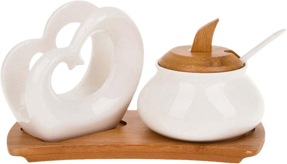 """Сахарница с ложкой и салфетница серии """"Nature"""".Аккуратная бамбуковая крышка и подставка- отличный акцент на простоту и универсальность для любого интерьера."""