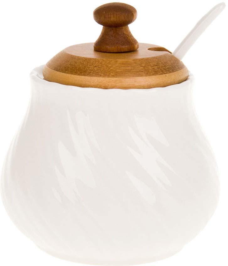 Сахарница BHP Naturel, с ложкой, 230 мл сахарница с ложкой 300 мл best home porcelain 8 марта женщинам