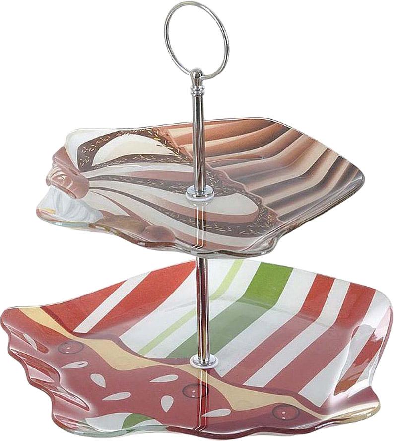 Блюдо для фруктов состоит из 2 ярусов.  Компактность и универсальность этого предмета сервировки, будет как хорошим подарком, так и удачным дополнением вашего интерьера.