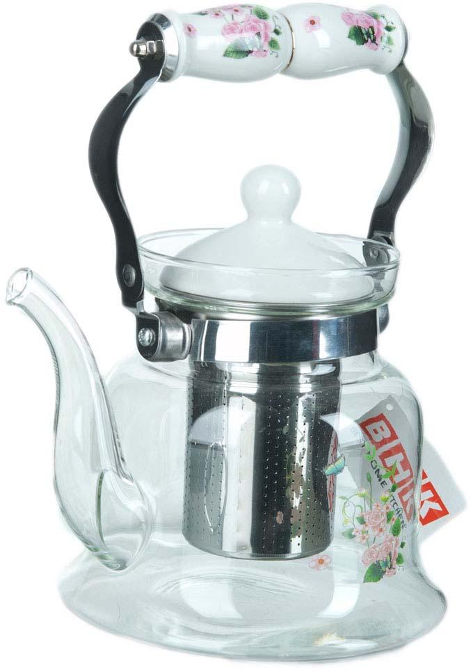 Чайник заварочный BHK, с фильтром, 1,2 л чайник заварочный bekker koch с фильтром цвет красный 1 25 л