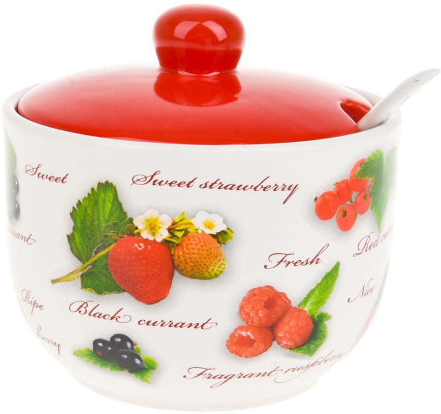 """Сахарница с ложкой """"Садовая ягода"""" изготовлена из качественной керамики.Универсальный орнамент подойдет к любому интерьеру."""