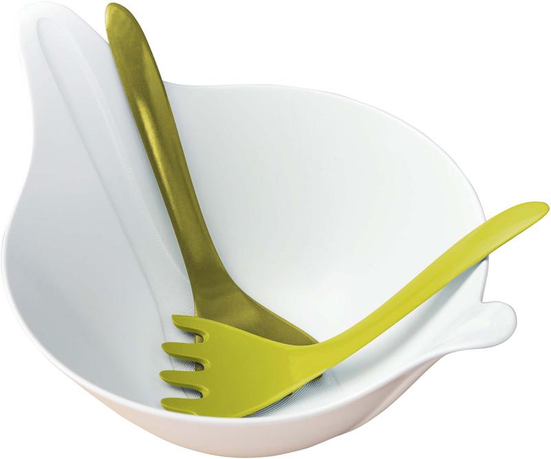 Салатник LEAF - это ясный, простой и элегантный дизайн полимерной посуды, будто специально созданной для эффектной подачи здоровой пищи. В комплект входят приборы для салата, которые изящно вливаются в корпус салатника.Особенности:- объем 4 л- не содержит меламин- можно мыть в посудомоечной машине