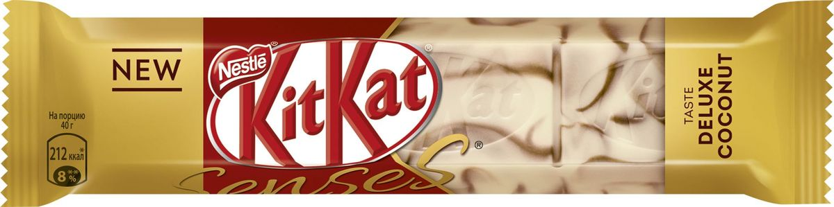 KitKat Senses Taste Deluxe Coconut шоколад белый со вкусом кокоса и молочный шоколад со вкусом миндаля с хрустящей вафлей, 40 г kitkat mini темный шоколад с хрустящей вафлей 185 г