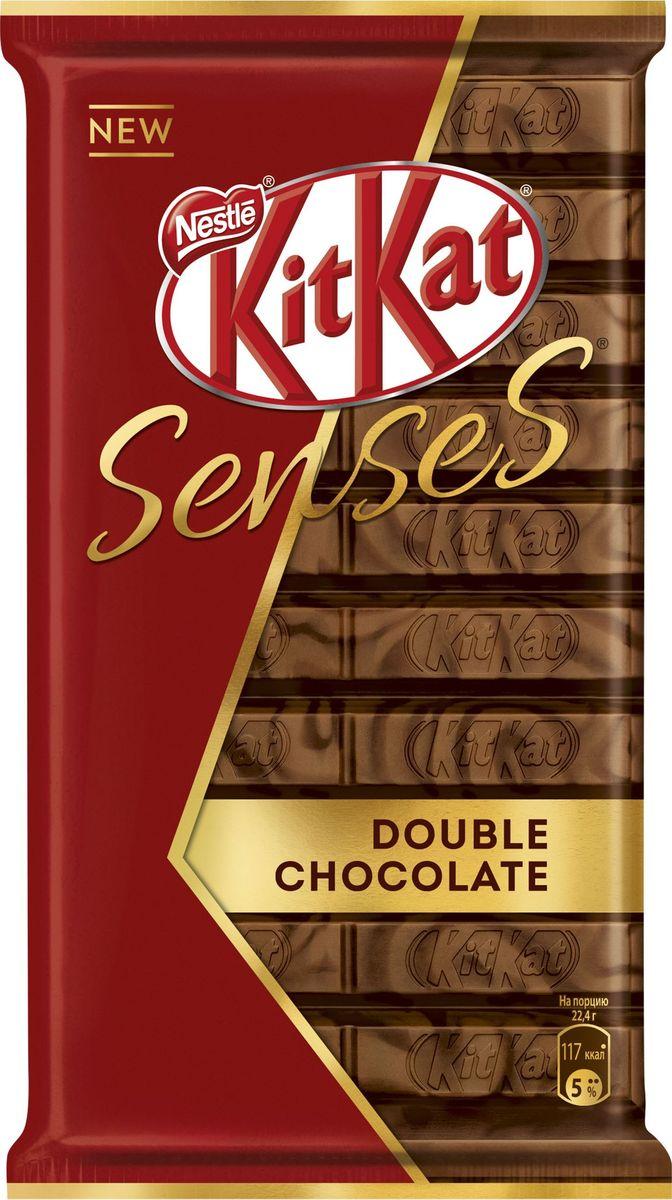 KitKat Senses Double Chocolate шоколад молочный и темный с хрустящей вафлей, 112 г kitkat mini темный шоколад с хрустящей вафлей 185 г