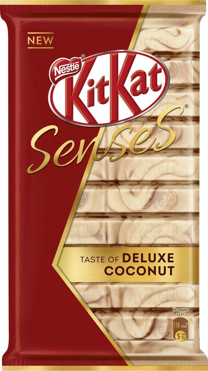 KitKat Senses Taste Deluxe Coconut шоколад белый со вкусом кокоса и молочный шоколад со вкусом миндаля с хрустящей вафлей, 112 г kitkat mini темный шоколад с хрустящей вафлей 185 г
