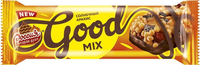 Россия-Щедрая душа! Гуд Микс батончик арахисовый, 33 г россия щедрая душа молочный шоколад с кокосом и вафлей 90 г