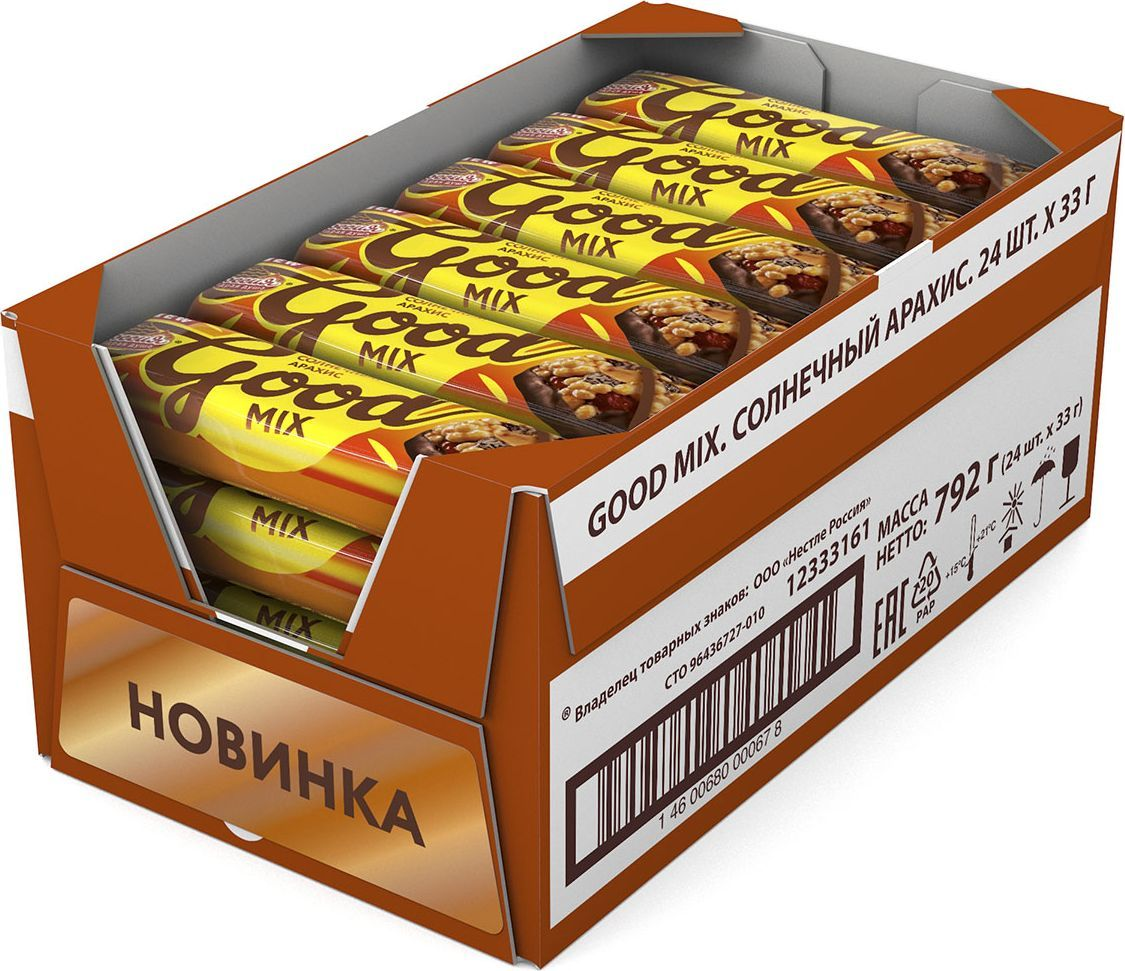 Россия-Щедрая душа! Гуд Микс батончик арахисовый, 24 шт по 33 г россия щедрая душа родные просторы конфеты с арахисом 200 г