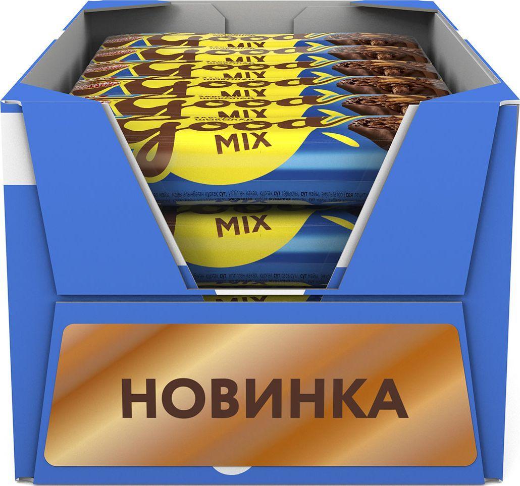 Россия-Щедрая душа! Гуд Микс батончик шоколадный, 24 шт по 33 г молочный шоколад россия щедрая душа золотая марка дуэт с арахисом 85 г