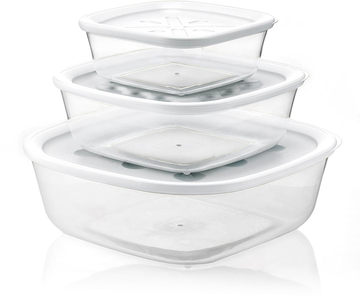 Набор из 3 контейнеров разного объема. Герметичная крышка защитит от протекания жидкости и сохранит качество продуктов. При этом она легко открывается - достаточно потянуть за специальный язычок сбоку. Контейнеры можно хранить в холодильнике или морозильной камере, а также разогревать в них еду в микроволновой печи, предварительно сняв крышку. Объем большого контейнера 2,95 л, среднего 1,4 л и маленького 570 мл. Можно мыть в посудомоечной машине.  Forme casa - это серия доступных и практичных кухонных аксессуаров от Guzzini. Она отличается понятным и функциональным дизайном, который подходит для ежедневного использования. Товары коллекции представляют собой яркие и надежные инструменты для кухни с долгим сроком службы и привлекательными характеристиками. Вся продукция производится в Италии и соответствует международным стандартам качества.