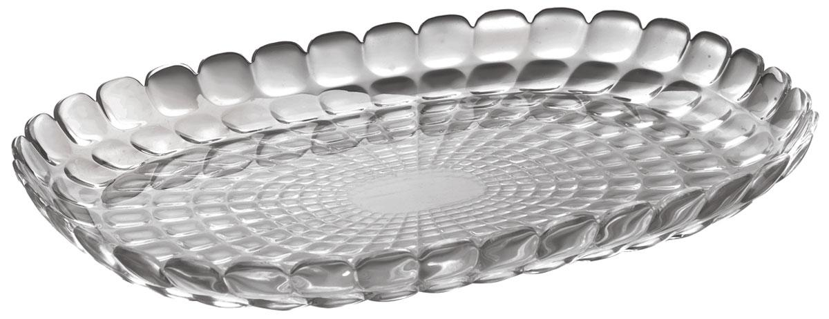 Изящный поднос Tiffany предназначен стать украшением любого стола. Используйте его для подачи основных блюд, салатов, закусок, десертов и выпечки. Идеально подходит для сервировки на свежем воздухе - рельефная форма подноса в сочетании с прозрачным материалом заставляет поверхность сверкать и переливаться на свету.   Длина подноса 45 см. Органическое стекло, из которого изготовлен поднос, характеризуется устойчивостью к износу и повреждениям. Не содержит вредных примесей и бисфенола-А. Можно мыть в посудомоечной машине.