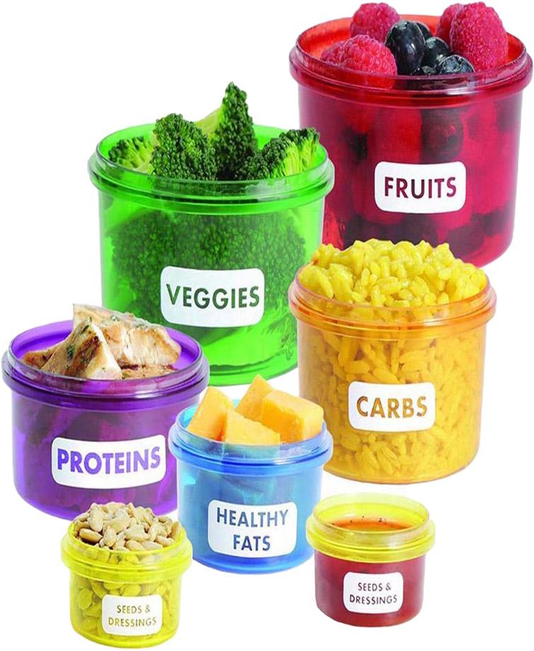 Набор контейнеров для контроля порций и сбалансированности питания. Набор включает 7 ёмкостей разного объема и цвета для удобного распределения различных продуктов (овощи, фрукты, белки, жиры, углеводы и т.д.). Использование подобного метода распределения продуктов, формирует правильные пищевые привычки и помогает в снижении и дальнейшем контроле массы тела. Фактический цвет может отличаться от заявленного.