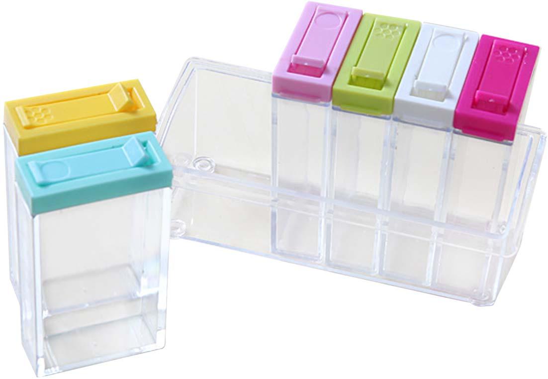 Комплект органайзеров для хранения специй на подставке состоит из 6 прозрачных контейнеров с разноцветными крышками. Крышка контейнера имеет небольшое отверстие-дозатор, также может открываться полностью. Отличное решение для оптимизации пространства на кухне. Фактический цвет может отличаться от заявленного.