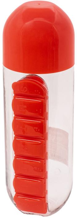 """Бутылка для воды """"Феникс-Презент"""", с таблетницей, цвет: красный, 600 мл"""