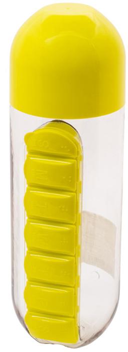 "Бутылка для воды ""Феникс-Презент"", с таблетницей, цвет: желтый, 600 мл"