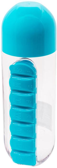 """Бутылка для воды """"Феникс-Презент"""", с таблетницей, цвет: голубой, 600 мл"""