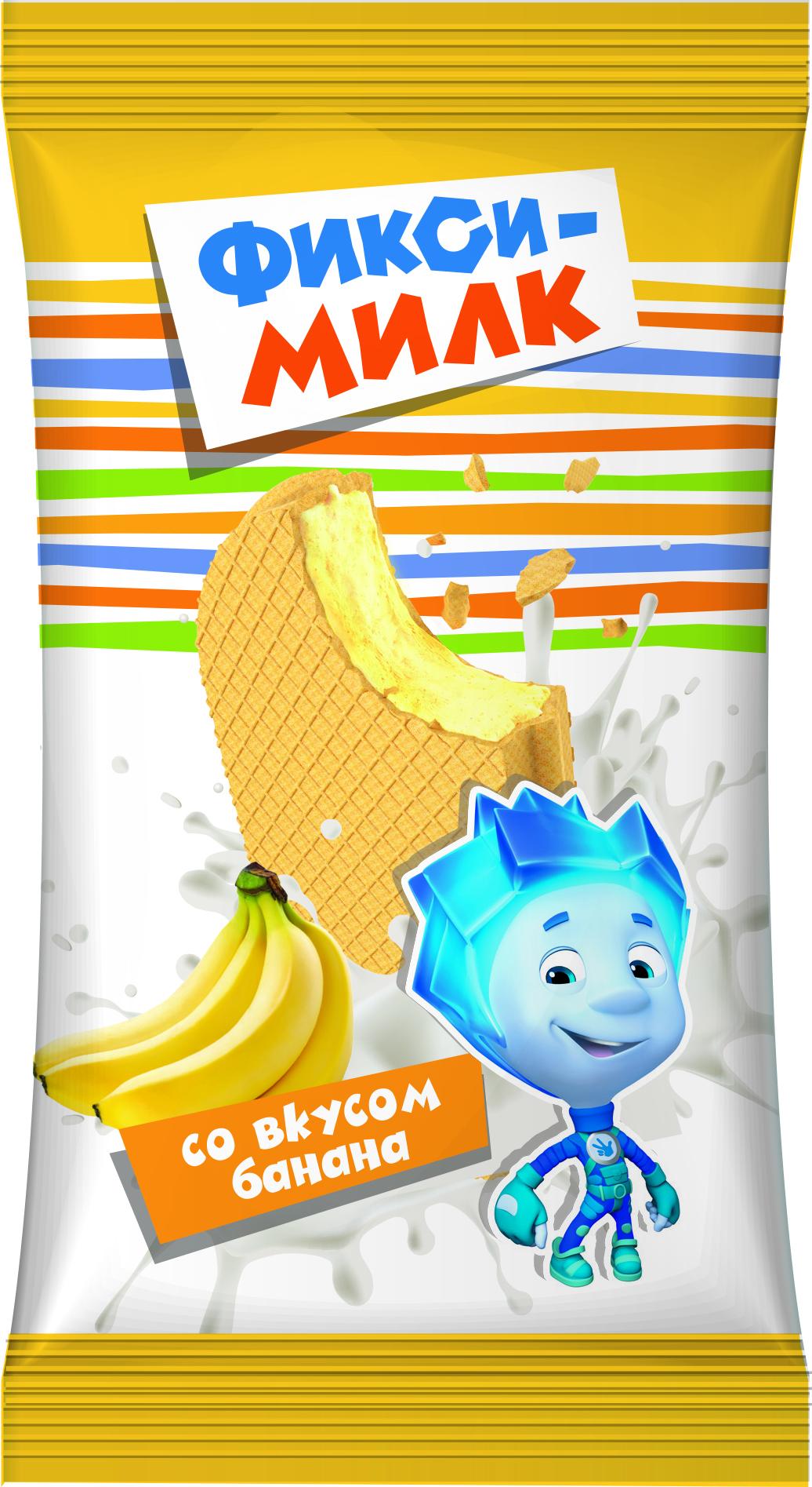 Фикси-Милк Молочный продукт со вкусом Банана, в вафле 35%, 40 г массажер sakura sa 5306bl