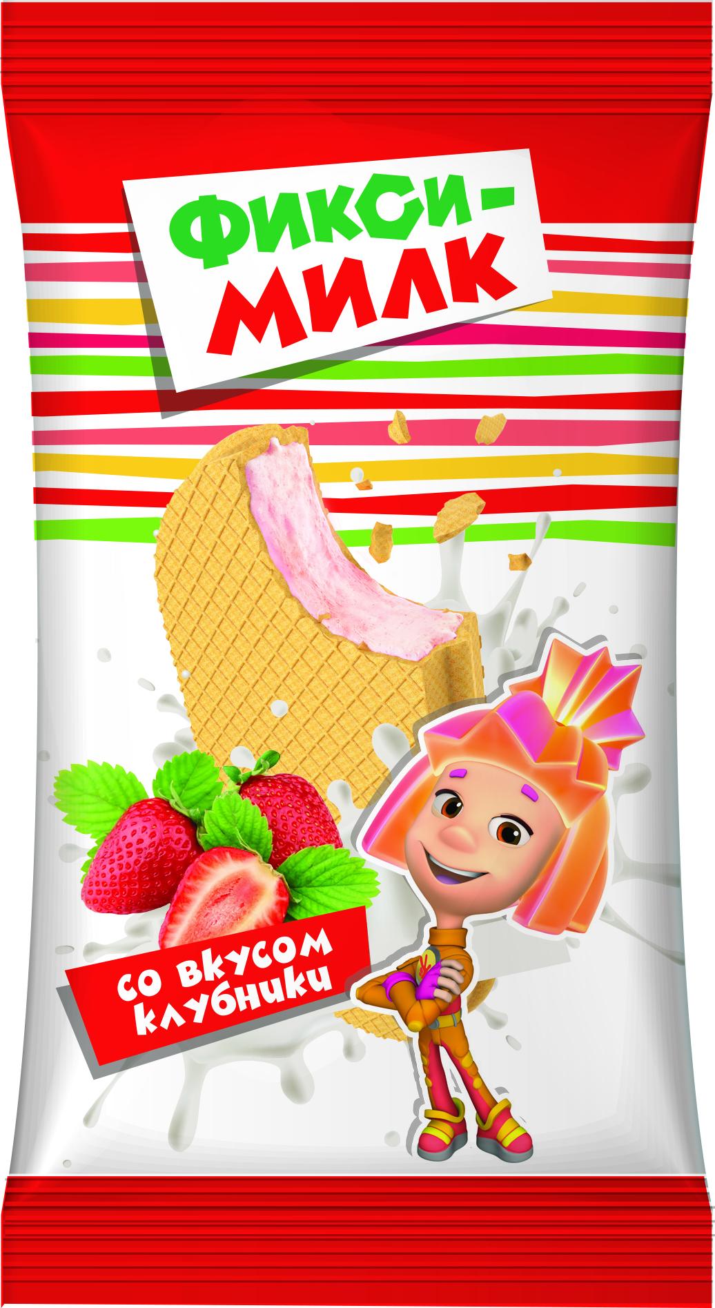 Фикси-Милк Молочный продукт со вкусом Клубники, в вафле 35%, 40 г с пудовъ кисель молочный ванильный 40 г