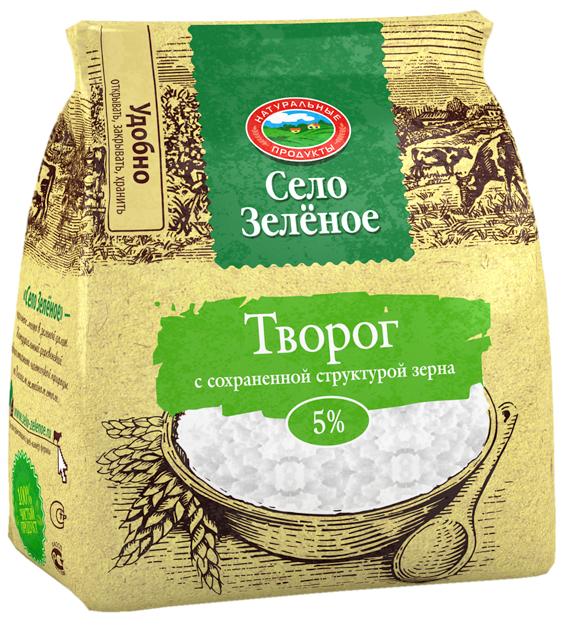 Село Зеленое Творог 5%, 200 г село зеленое молоко пастеризованное 3 2% 930 г