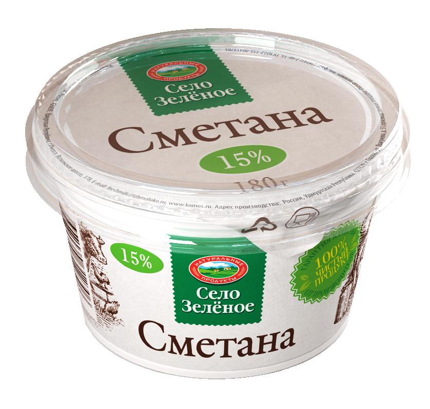 Село Зеленое Сметана 15%, 180 г село зеленое молоко пастеризованное 3 2% 930 г