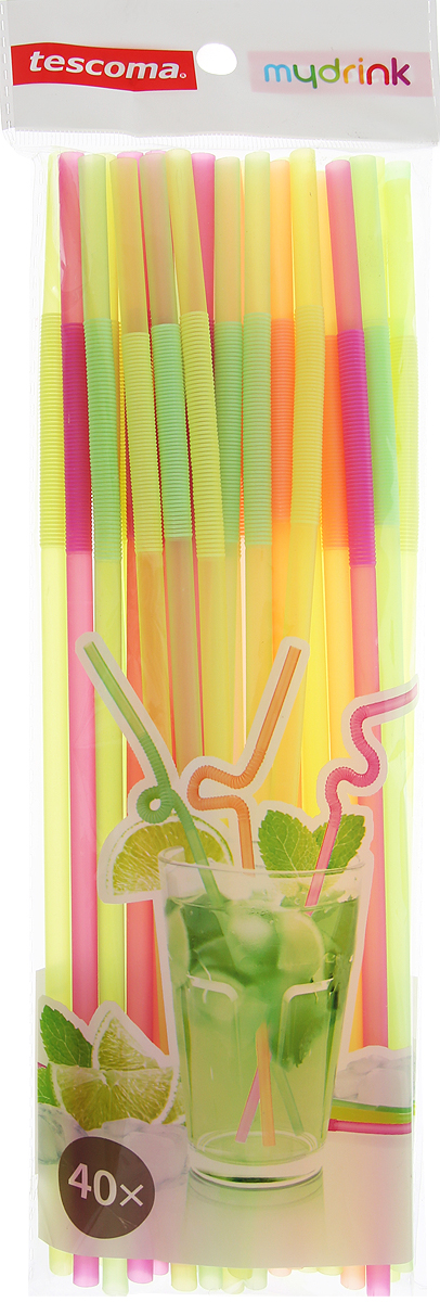 """Трубочки для коктейлей Tescoma """"myDRINK"""" выполнены из разноцветного полипропилена. Трубочки не протекают. Они смогут полностью реализовать вашу творческую фантазию при украшении коктейлей и напитков. Ваш стол станет ярким и праздничным, а гости будут приятно удивлены мастерством хозяев.Диаметр трубочек: 0,5 см.Длина трубочек: 24 см."""