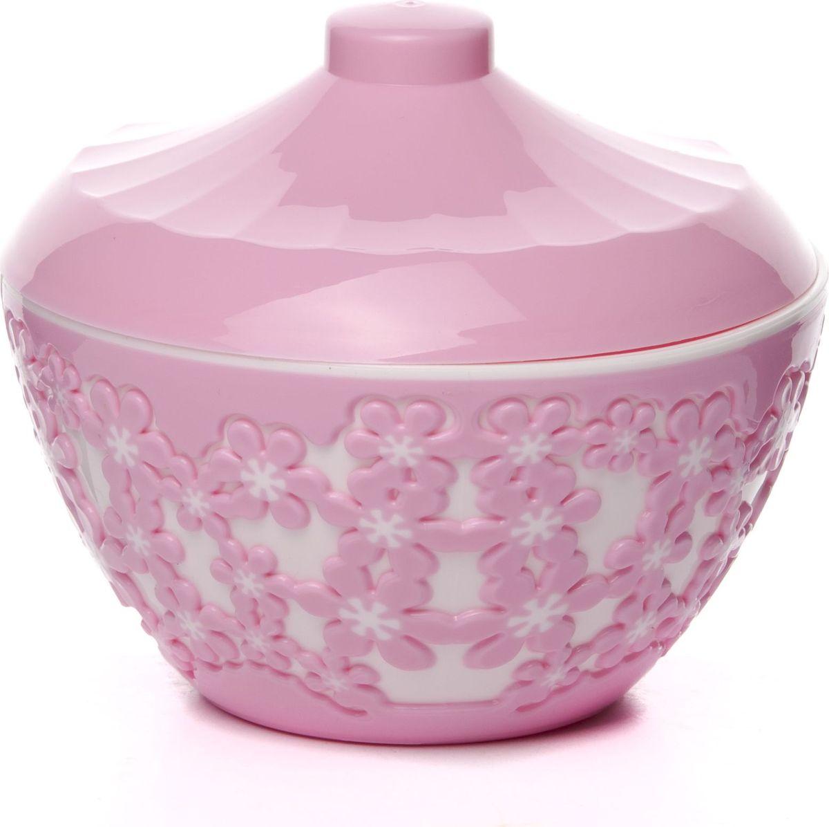 Сахарница с крышкой Альтернатива Дольче Вита, цвет: белый, розовый, 500 мл сахарница pasabahce perla 500 мл