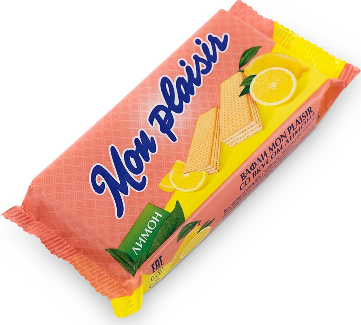 Mon Plaisir вафли со вкусом лимона, 72 г вафли акульчев венские со вкусом взбитые сливки 140г