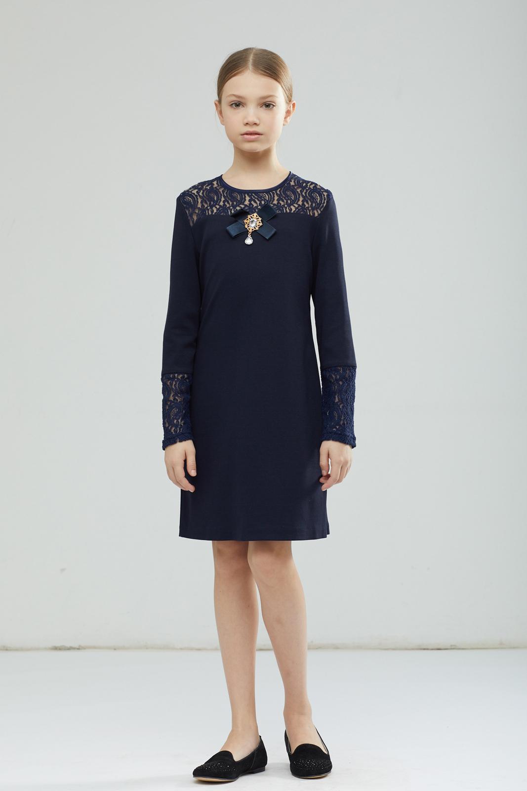 Платье для девочки Смена, цвет: синий. 17с178. Размер 122