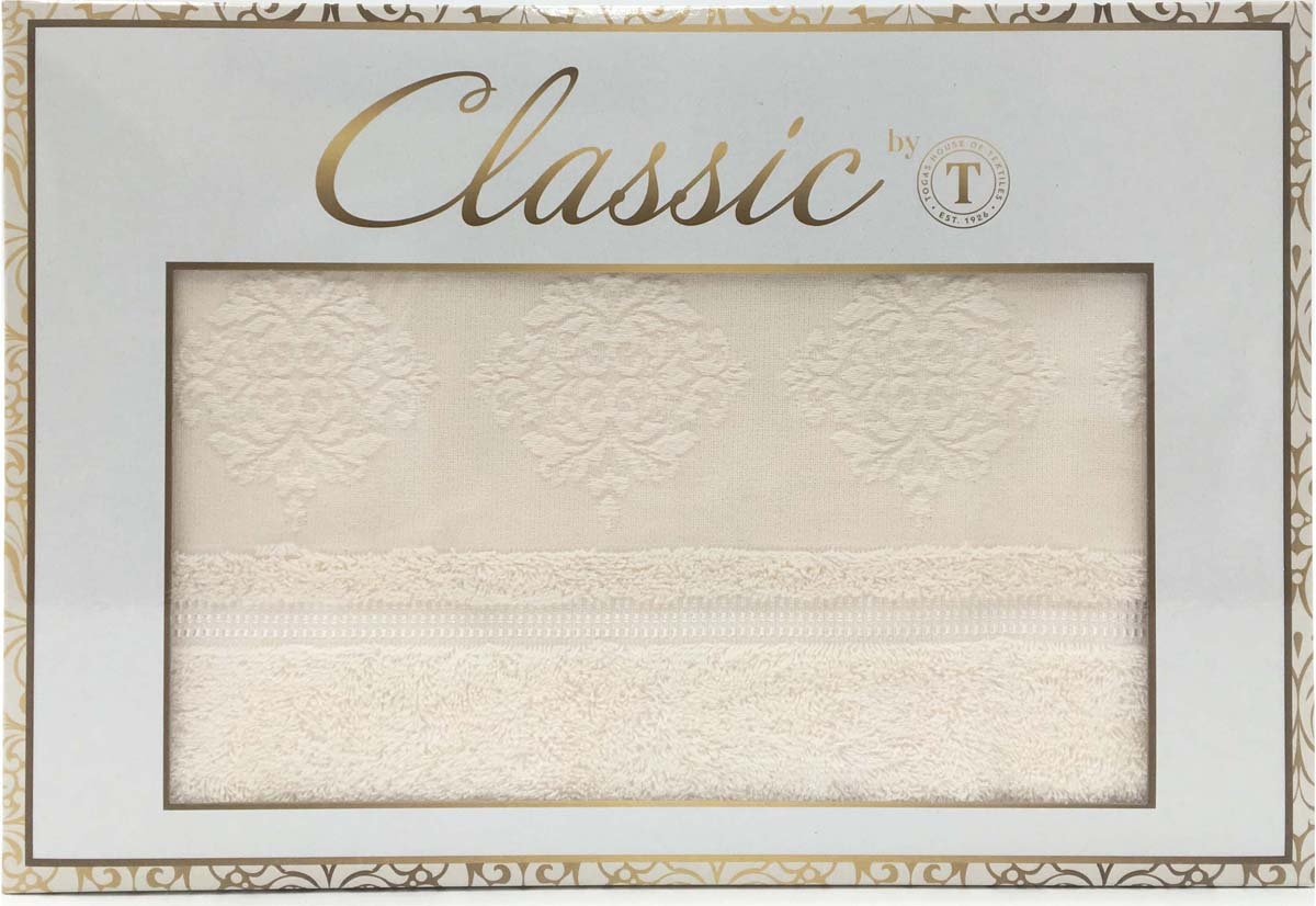 """Набор банных полотенец Сlassic by T """"Ривьера"""", цвет: экрю, 50 х 90 см, 70 х 130 см, 2 шт"""