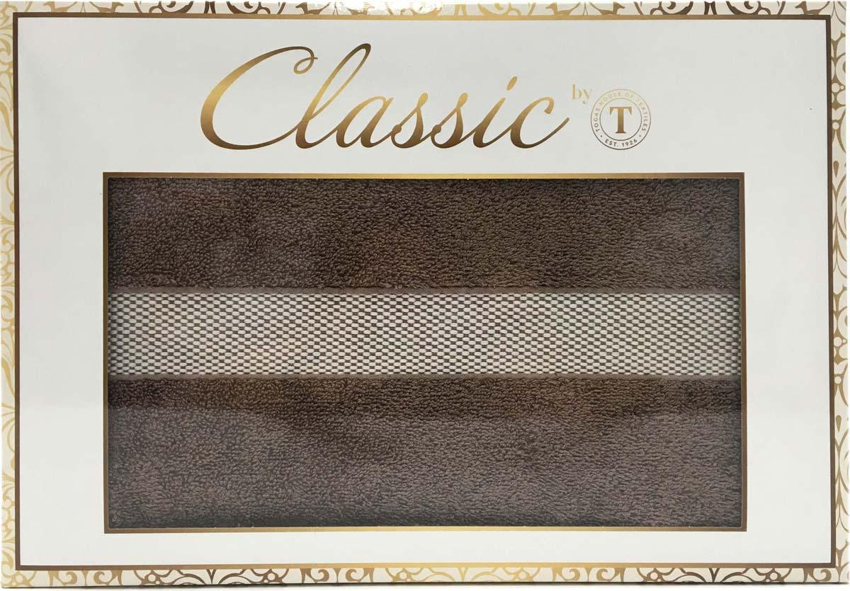 Набор банных полотенец Сlassic by T Вальмон, цвет: коричневый, 50 х 90 см, 70 х 130 см, 2 предмета 8977 бежевый daisy махра 50х90 70х130 в коробке набор полотенец merzuka