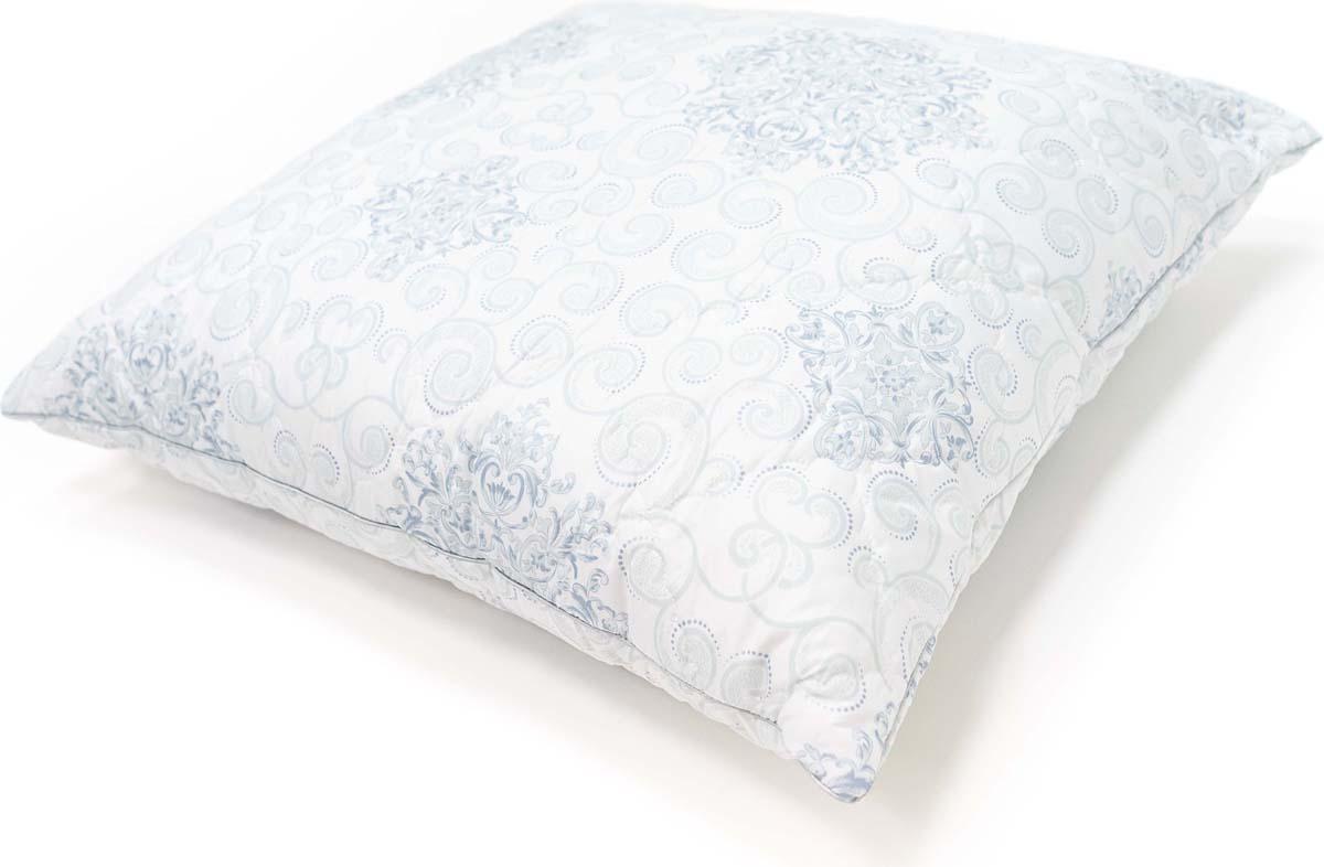 Подушка Сlassic by T Белый чай, стеганая, наполнитель: полиэфирное волокно, цвет: голубой, 70 х 70 см подушки classic by t подушка пух в тике 70х70