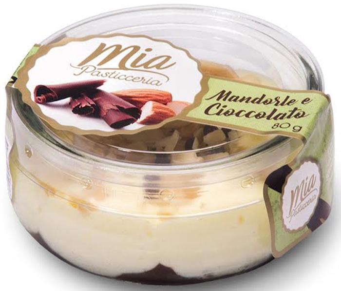 Pasticceria Десерт из темного шоколада со взбитыми сливками с Миндалем, 80 г бусы из агата и хрусталя черника со сливками
