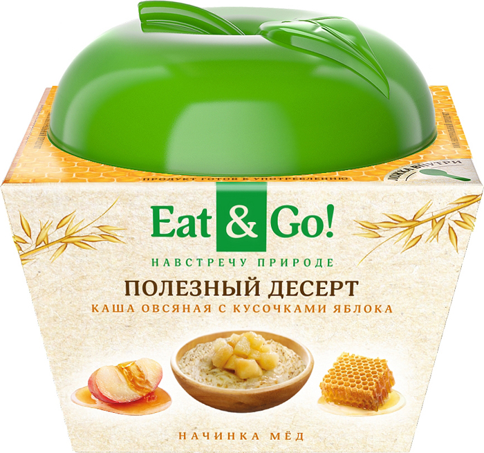 Eat&Go Полезный десерт Каша овсяная с кусочками яблока с медом, 225 г правило кашевара каша овсяная с топинамбуром и вкусом яблока 42 г