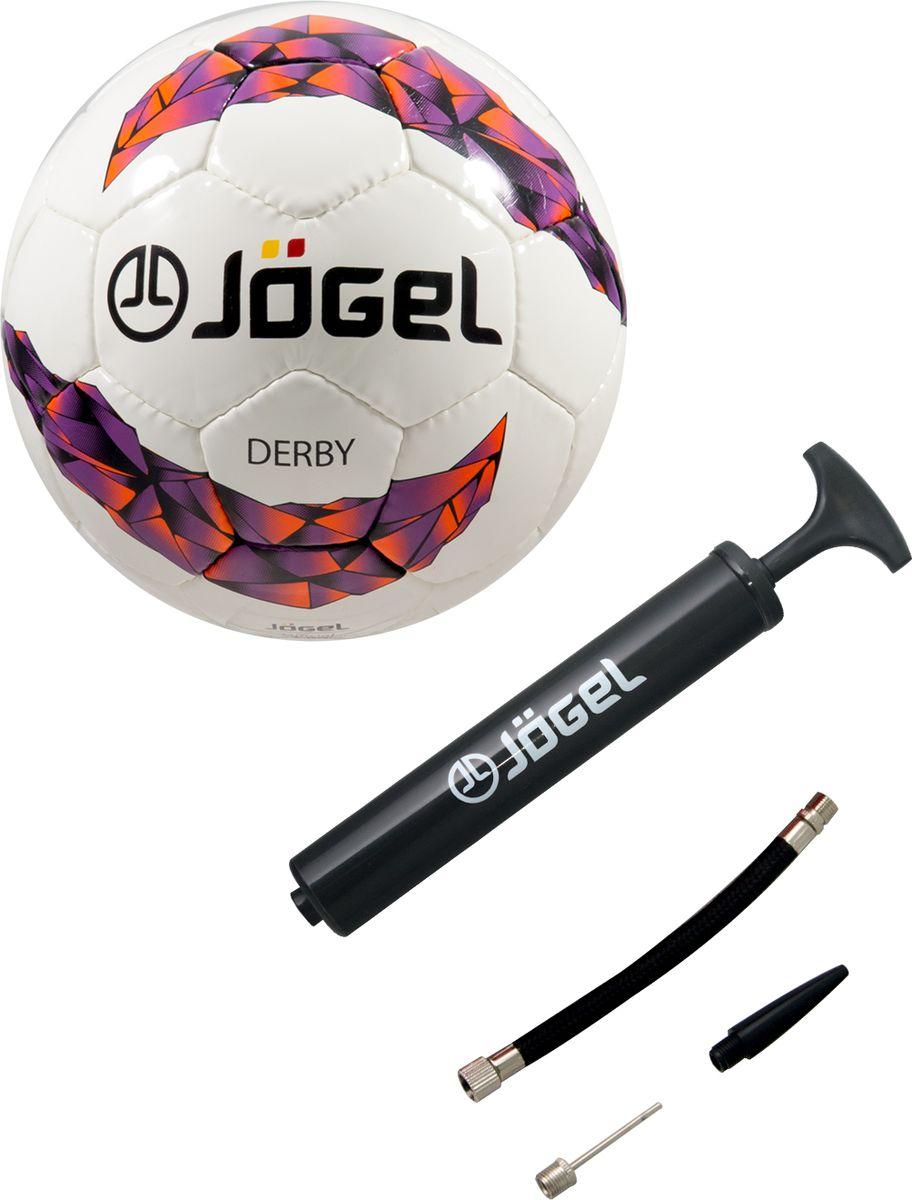 Мяч футбольный Jogel JS-500 Derby №3 + Насос JA-103, 26 см мячи спортивные jogel мяч волейбольный jogel jv 550