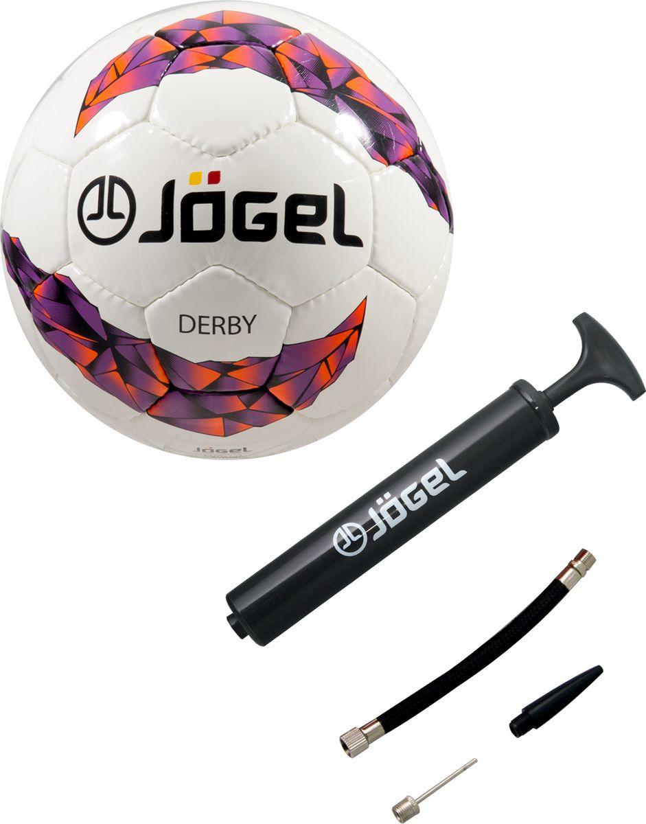 Мяч футбольный Jogel JS-500 Derby №4 + Насос JA-103, 26 см мячи спортивные jogel мяч волейбольный jogel jv 550