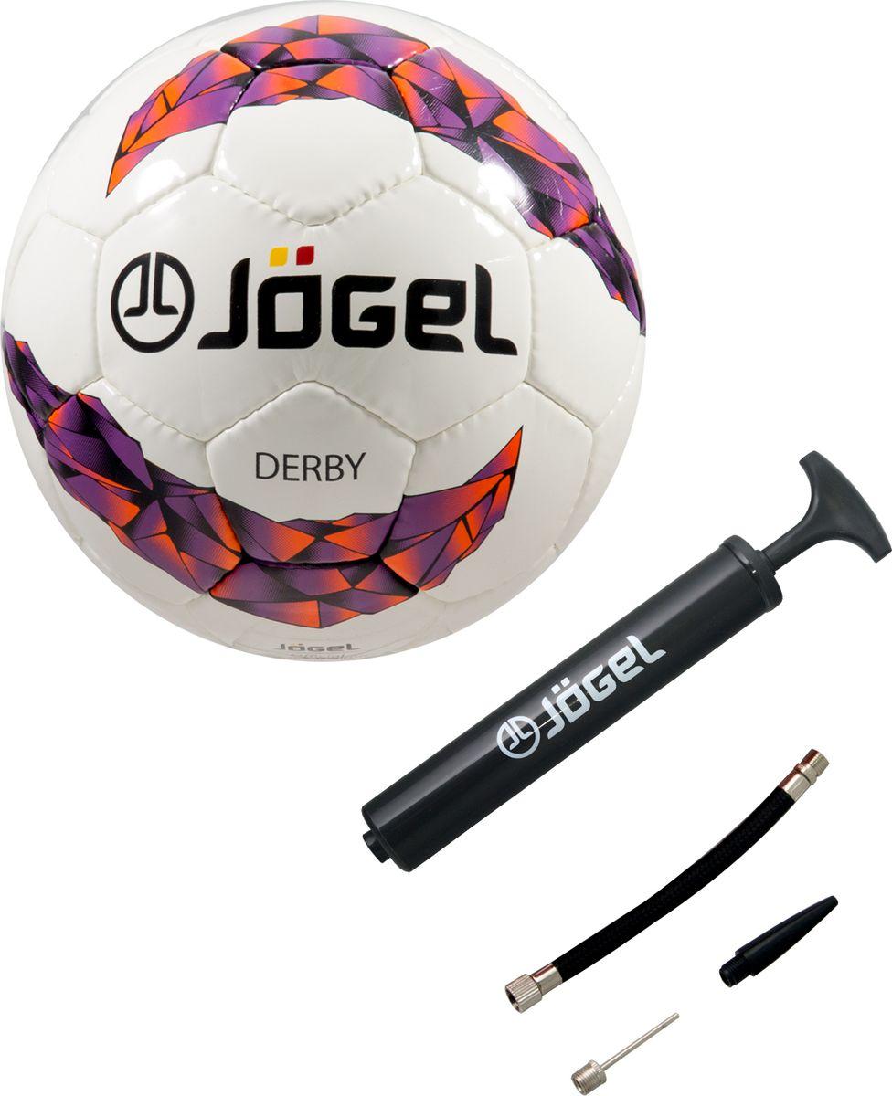 Мяч футбольный Jogel JS-500 Derby №5 + Насос JA-103, 26 см мячи спортивные jogel мяч волейбольный jogel jv 550