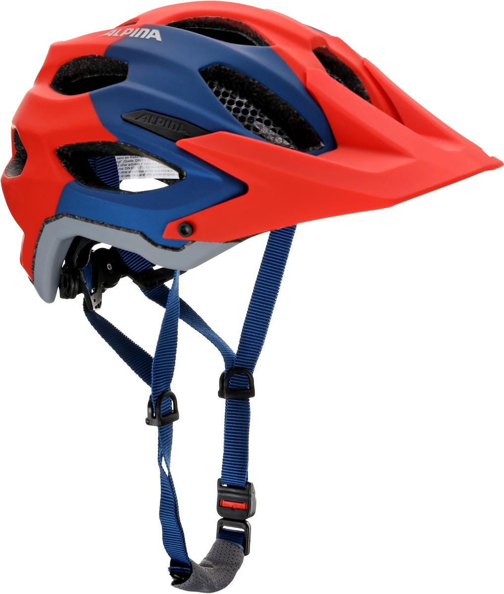 Велошлем Alpina Carapax, цвет: красный, голубой. Размер 52-57 см