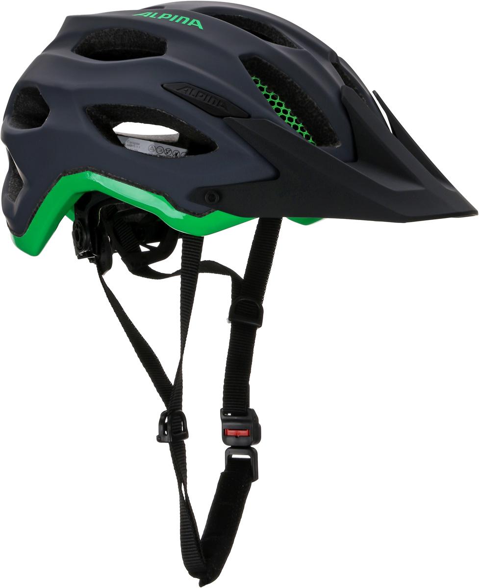 Велошлем Alpina Carapax, цвет: темно-серый, зеленый. Размер 52-57 см платья для девочек