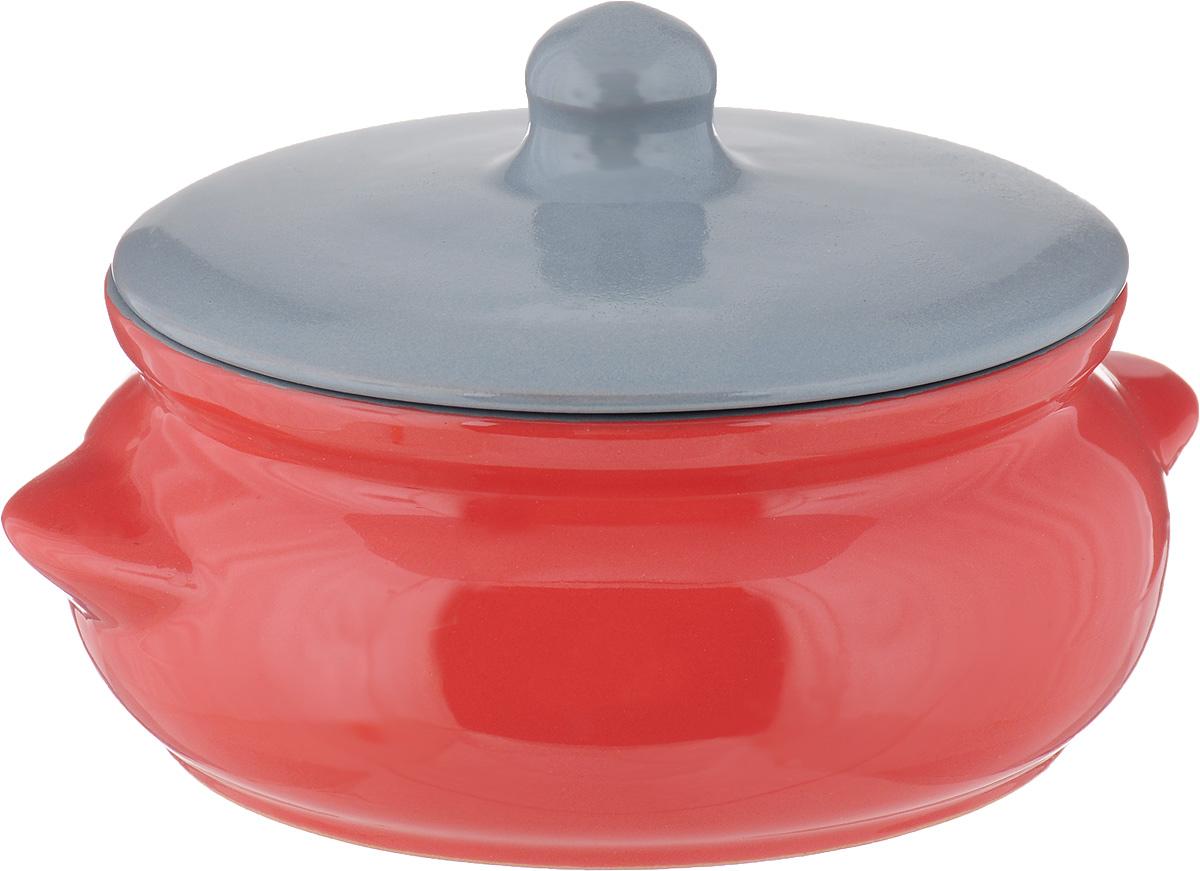 """Горшок для запекания Борисовская керамика """"Радуга"""", с крышкой, цвет: красный, серый, 700 мл"""