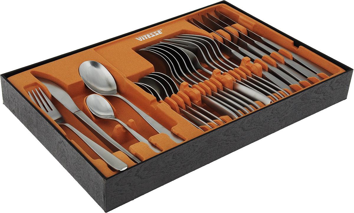 Столовые приборы 24 предмета (Kathy) Нож столовый, шт - 6 Ложка столовая, шт - 6 Вилка столовая, шт - 6 Ложка чайная, шт - 6 Материал - Нержавеющая сталь 18/10 Толщина ложки, мм - 2,5 мм Толщина вилки, мм - 3,5 мм Вес ножа, гр - 110 гр. Полировка - Сатинирование Упаковка - Подарочная коробка цвет: нержавеющая сталь