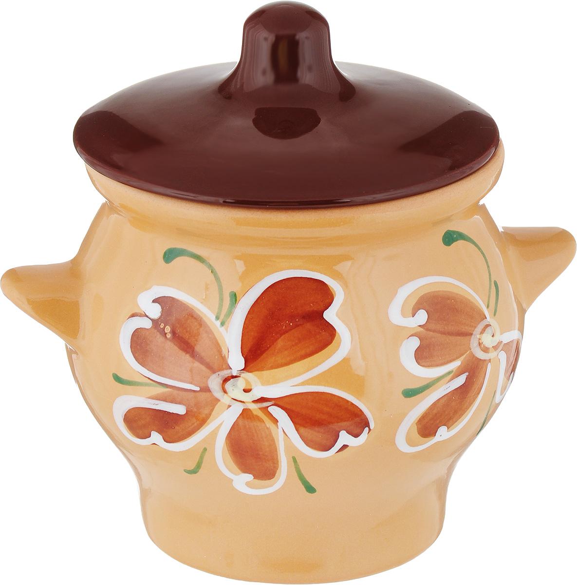 """Горшок для запекания Борисовская керамика """"Cтандарт"""", с крышкой, цвет: коричневый, 650 мл"""