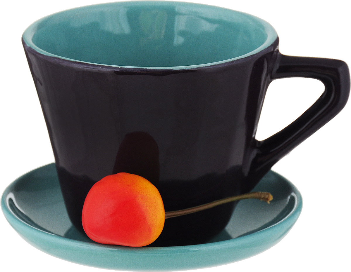 Чайная пара Борисовская керамика Ностальгия, цвет: темно-фиолетовый, голубой, 200 мл