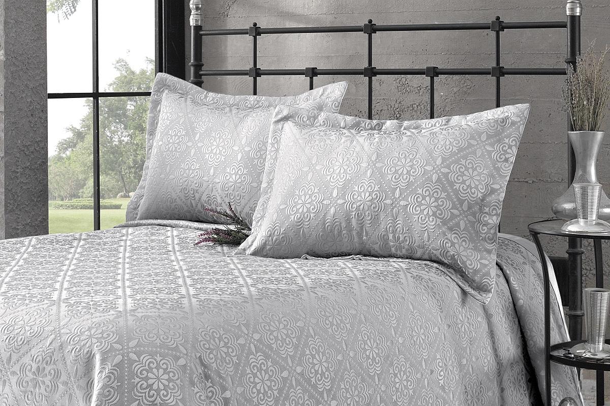 """Комплект для спальни Karna """"Afrodit"""": покрывало 180 x 260 см, 2 наволочки 50 х 70 см, цвет: серый"""