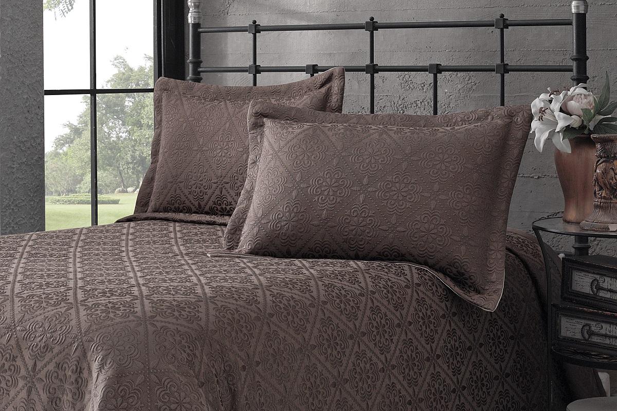 """Комплект для спальни Karna """"Afrodit"""": покрывало 180 x 260 см, 2 наволочки 50 х 70 см, цвет: коричневый"""